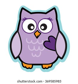 Valentine cute purple love owl holding heart