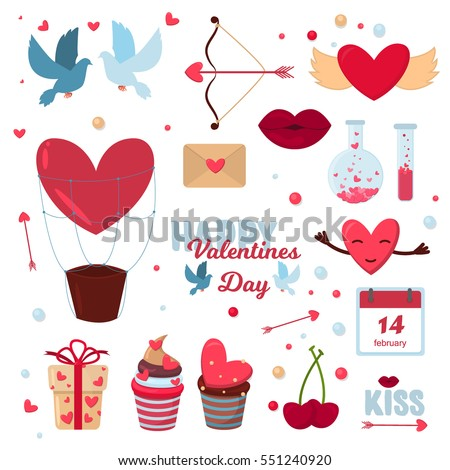 Valentine Day 14 February Icons Vector Stock Vector Royalty Free