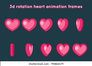 Valentine Day 3d Heart Rotation Animation Frames Set Flat Design Vector Illustration