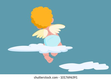 Valentine Day Amour Love Cupid sitting on cloud