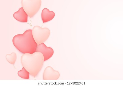 Valentine day background with heart shape balloons and empty space for your text. Valentine's day sale poster.
