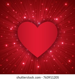 Valentine Day background with red heart, and sparles, vector illustration
