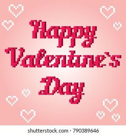 Valentine day banner. Pixelart. Old school computer graphic style. 8 bit video game.