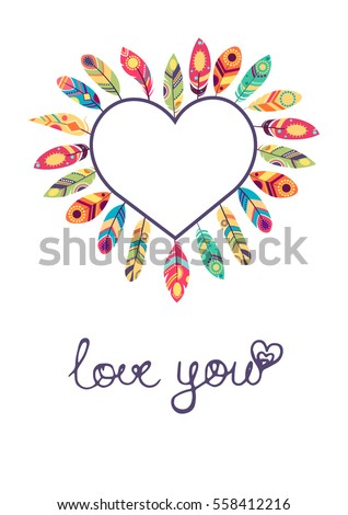 Valentine Day Card Heart Feathers Ethnic Stock Vector Royalty Free