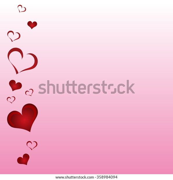 Valentine day card with heart shapes on a pink background. Vector illustration