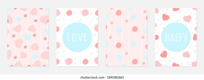 Valentine day cards with watercolor hearts,  grunge elements and hand drawn lettering. Vector backgrounds set. - Shutterstock ID 1890381865