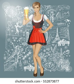 Valentine day concept. Vector cute woman in drindl against Valentine day elements background