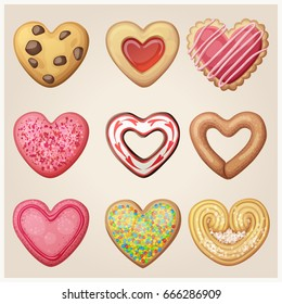 Valentine day cookie set. Heart shaped pastry illustration. Cartoon vector icons