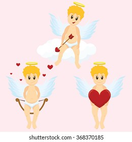 Valentine Day cupid angels cartoon style vector illustration. Amur cupid kids playing. Cupid cartoon kids vector illustration