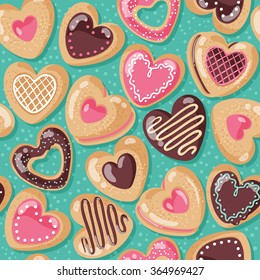 Valentine day cute and yummy sugar cookie pink heart sweets pattern design on color background. Love pastry sweets vector bakery products desserts.