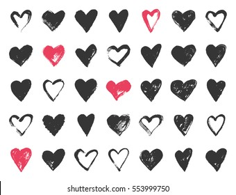 Valentine day doodle hearts. Hand drawn hearts brushes for wedding and valentine cards.