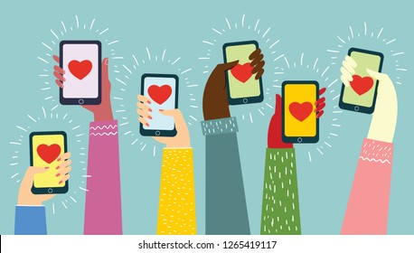 Valentine Day Gift Card Holiday Love Hands Hold Cell Smart Phone with hearts. Social Network Communication Flat Vector Illustration