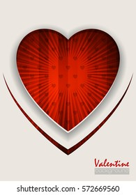 Valentine day greeting card with striped bursting red background