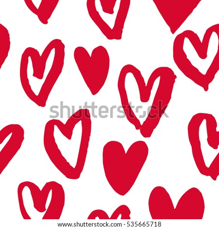 Valentine Day Hearts Pattern Background Hand Stock Vector Royalty