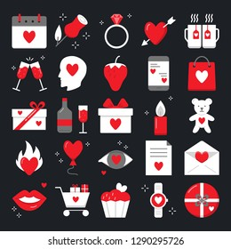 Valentine day icon set in flat style