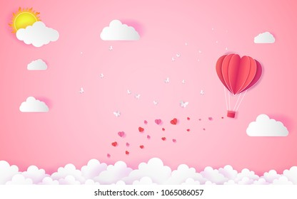 valentine day Love, with heart float on the sky.paper art ,balloon flying over Cloud vector illustration