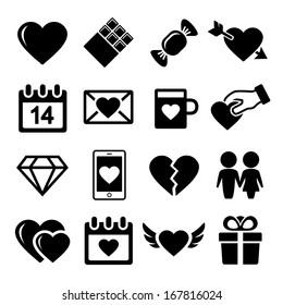 Valentine day love icons set.