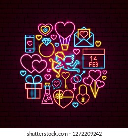 Valentine Day Neon Concept. Vector Illustration of Love Promotion.