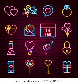 Valentine Day Neon Icons. Vector Illustration of Love Promotion.