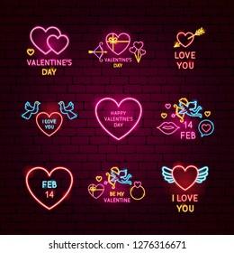 Valentine Day Neon Label Set. Vector Illustration of Love Promotion.