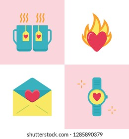 Valentine day romantic icon set in flat style