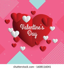 Valentine day sale discount card with hearts