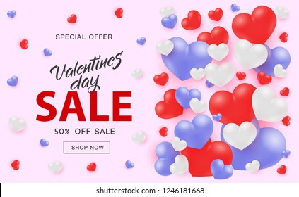 Valentine Day Sale web banner with white red and blue 3d heart shapes on pink background - vector illustration of beautiful romantic poster for 14 February special offer for festive shopping.