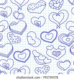Valentine day seamless pattern with blue ink hearts on a notepad paper. Vector illustration.