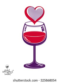 Vector Illustration Wine Glass Sketch Spilled Stock Vector Royalty