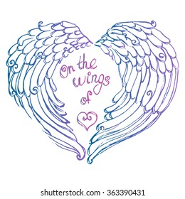 Valentine day vector illustrated hand-drawn card with wings of heart for a holiday