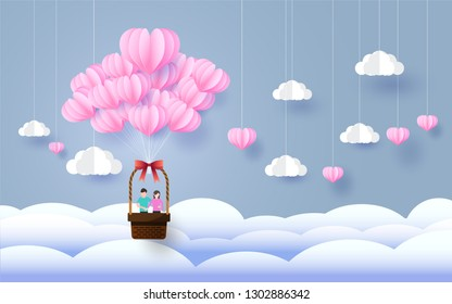 valentine day,paper art style,heart and clouds in the sky