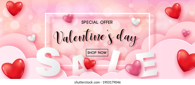 Valentine day's specials offer with sale wording in white frame and red harts on pink cloud and bokeh pattern background. Valentine greeting card in paper cut style and vector design.