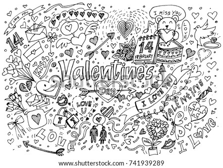 Valentine Doodle Hand Draw Love Romantic Stock Vector Royalty Free