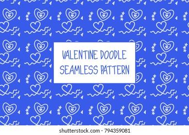 Valentine doodle pattern. Design of hand drawn elements for St. Valentine's day, wedding, proposal.