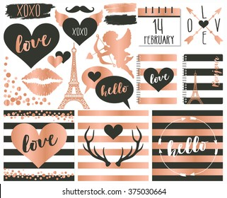 valentine elements in rose gold foil and slate