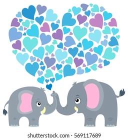 Valentine elephant theme image 2 - eps10 vector illustration.