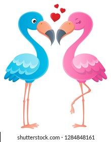 Valentine flamingos topic image - eps10 vector illustration.