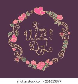 Valentine Flower Wreath. Vector Illustration.