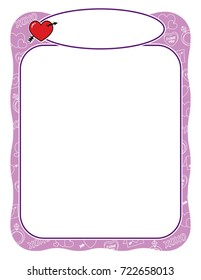 Valentine frame with heart and arrow, purple and wavy border