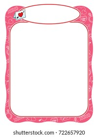 Valentine frame with love letter, pink and wavy
