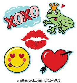 Valentine fresh and fun love icon set
