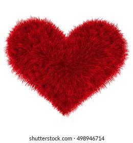 Valentine fur red heart, vector illustration