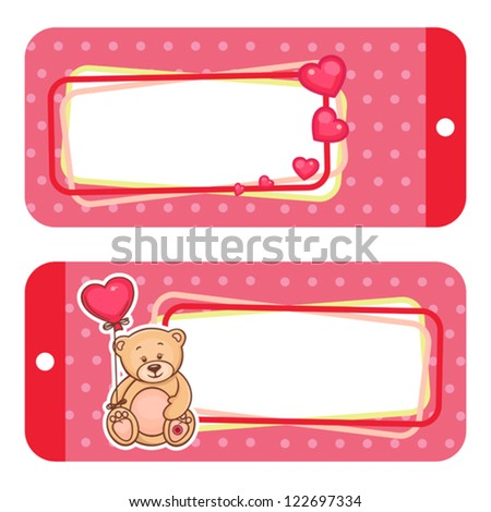 Valentine Gift Tags Cute Valentine Teddy Stock Vector Royalty Free