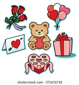 Valentine gifts of love illustration icons