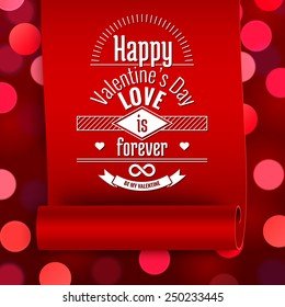 Valentine greeting card, love message on red ribbon on boken background