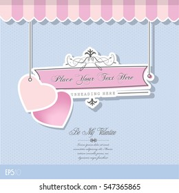 Valentine greeting card with pink hearts.