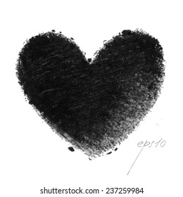Valentine - Grunge black heart background. EPS10 vector illustration. Hand-drawn painted black heart, vector element for your design