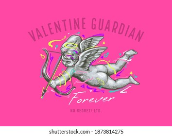 valentine guardian slogan with Flying Cupid holding bow and aiming or shooting arrow ,vector illustration for t-shirt.