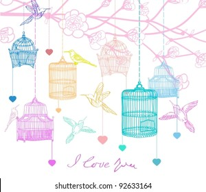 Valentine hand drawing background with birds, flowers and cage, beautiful vector illustration