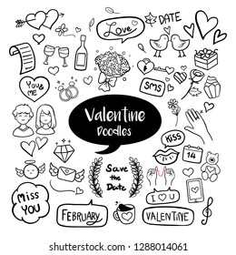 Valentine hand drawn doodles